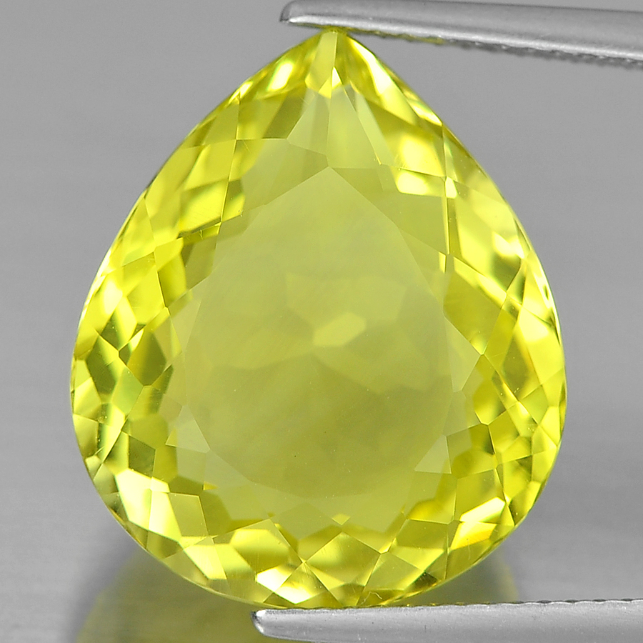 13.62 Ct. Pear Shape Gemstone Natural Clean Yellow Lemon Quartz From Brazil