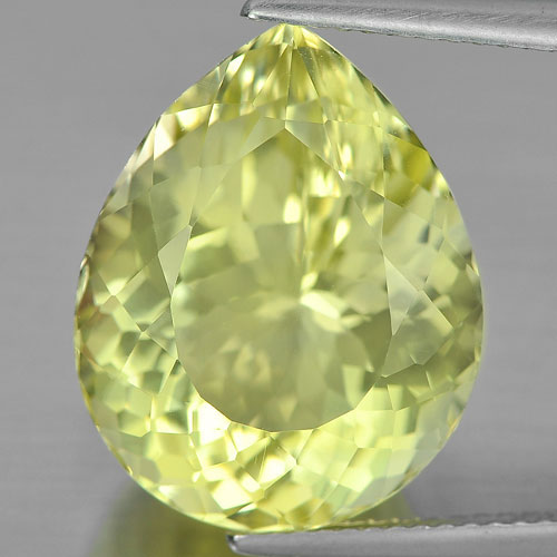 14.18 Ct. Pear Shape Natural Clean Yellow Lemon Quartz Unheated