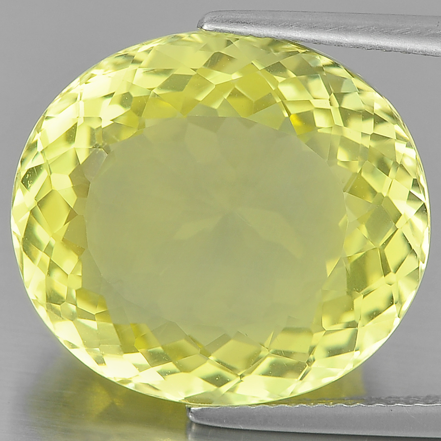 16.60 Ct. Oval Shape Gem Natural Clean Yellow Lemon Quartz Unheated