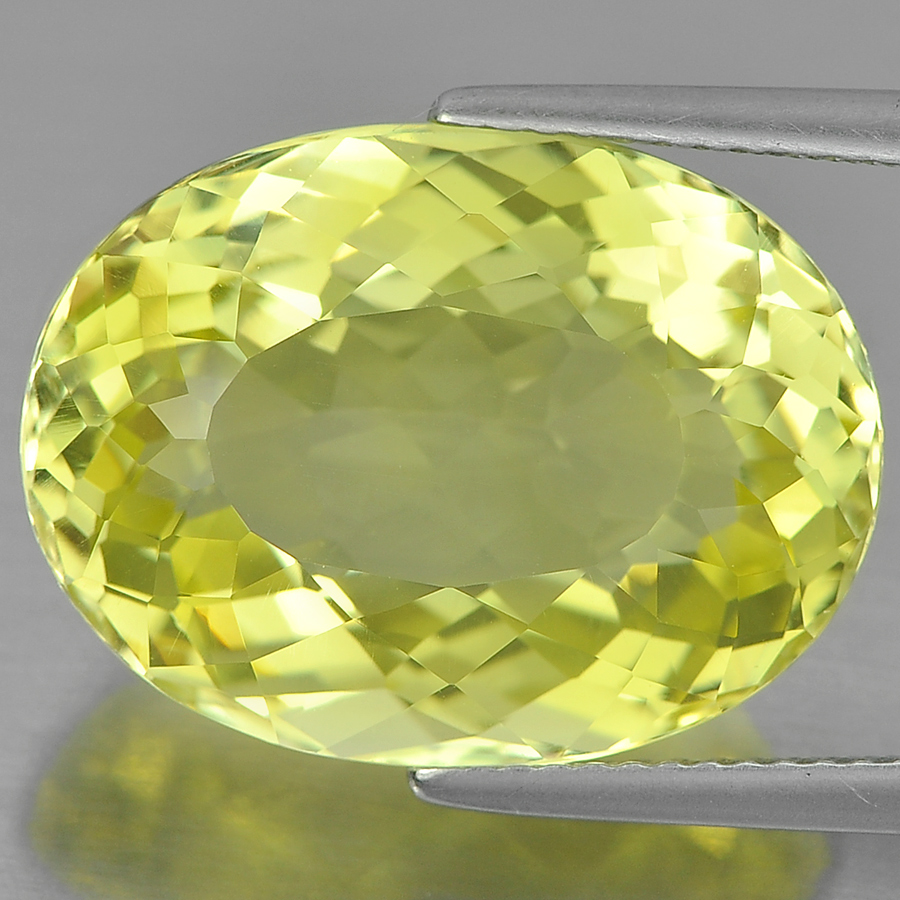 15.18 Ct. Oval Shape Natural Gemstone Clean Yellow Lemon Quartz From Brazil