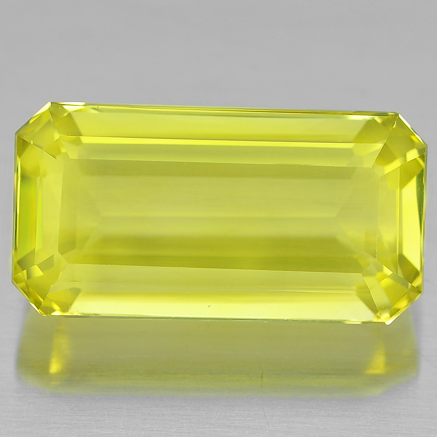 19.85 Ct. Octagon Shape Natural Gemstone Clean Yellow Lemon Quartz Unheated