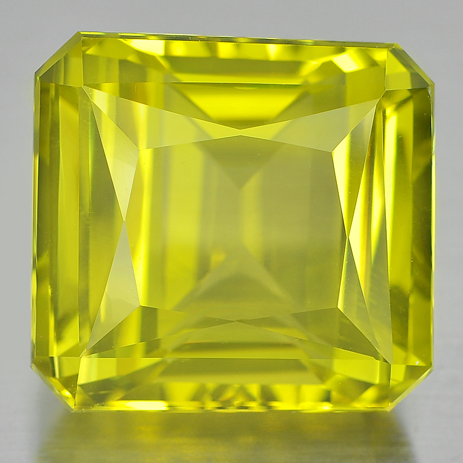 27.67 Ct. Octagon Shape 18 x 17 Mm. Natural Clean Yellow Lemon Quartz Unheated