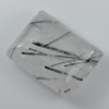 33.96 Ct. Baguette Cabochon 24 x 18 Mm. Natural Gem White Black Rutilated Quartz