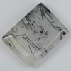 38.00 Ct. Baguette Cabochon 27 x 21 Mm. Natural Gem White Black Rutilated Quartz