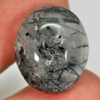 16.25 Ct. Oval Cabochon Natural Gemstone Black White Rutilated Quartz Unheated