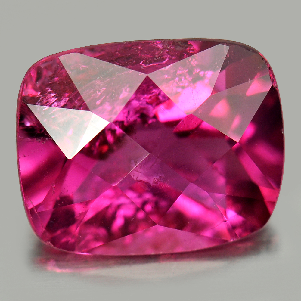 2.80 Ct. Cushion Checkerboard Cut Natural Gemstone Purplish Pink Rubellite