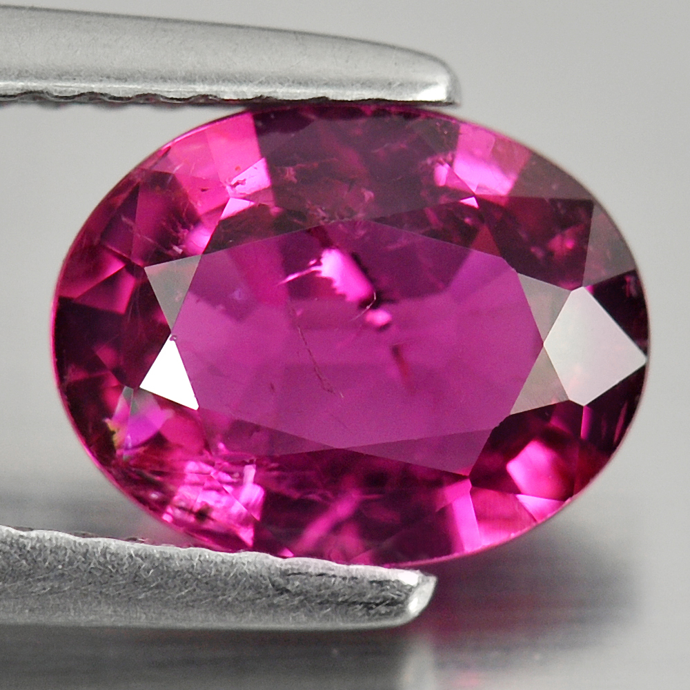 Unheated 1.47 Ct. Natural Gemstone Purplish Pink Rubellite Oval Shape 9 x 7 Mm.