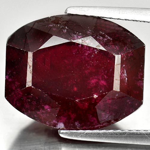 Natural 16.61 Ct. 15.6 x 13.1 mm. Fancy Shape Purplish Red Ruby Gemstone