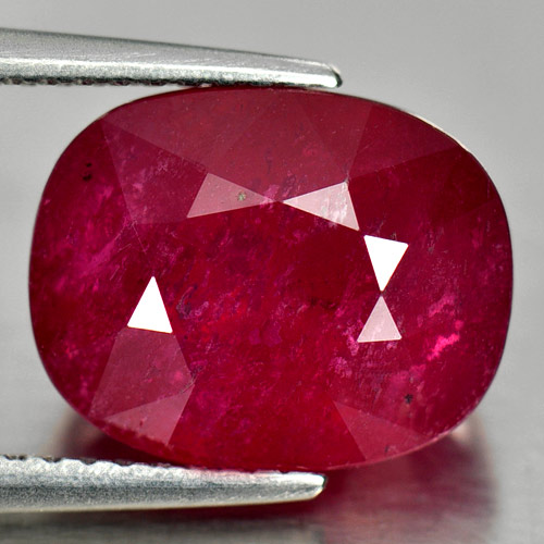 7.52 Ct. Natural Gemstone Purplish Red Ruby Cushion Shape From Madagascar