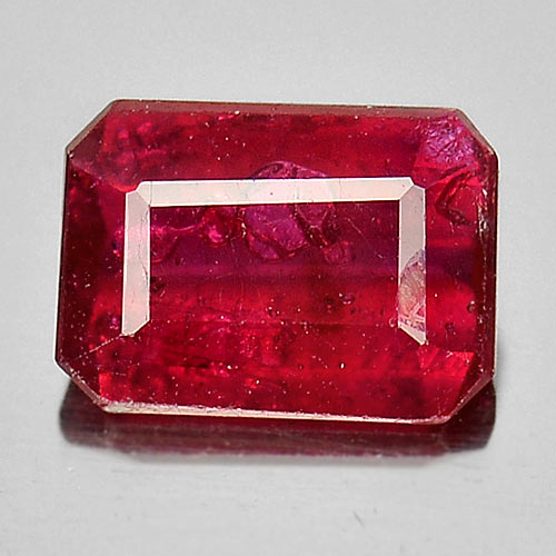 1.08 Ct. Good Cutting Octagon Natural Gemstone Pinkish Red Ruby