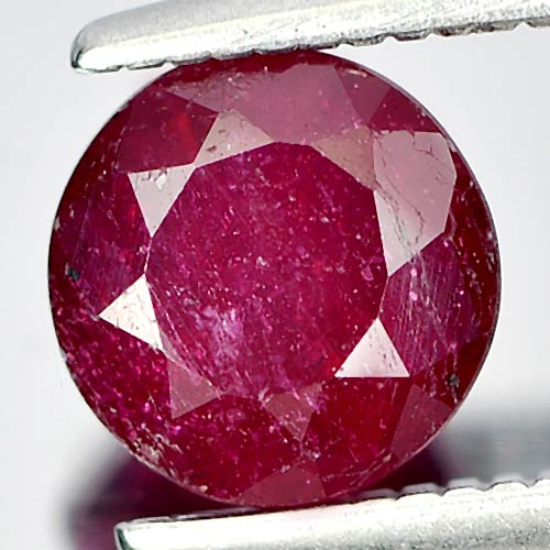 1.32 Ct. Round Natural Gemstone Pinkish Red Ruby Madagascar