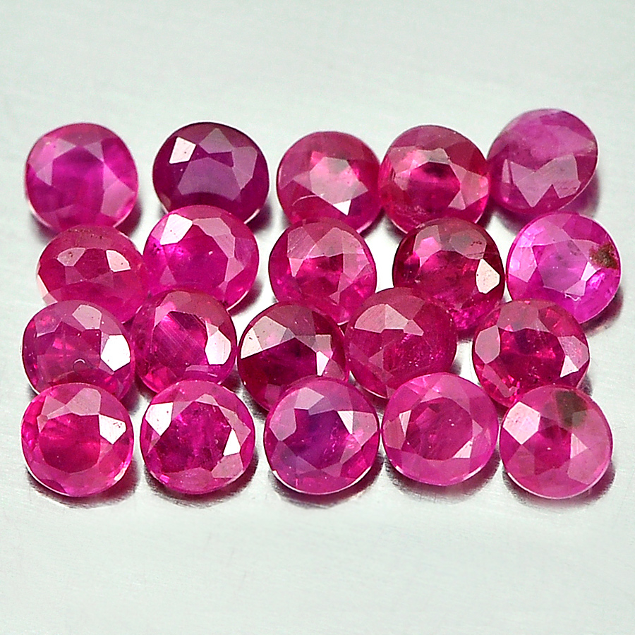 1.13 Ct. 20 Pcs. Round Shape 2.2 mm. Natural Gems Purplish Pink Mogkok Ruby