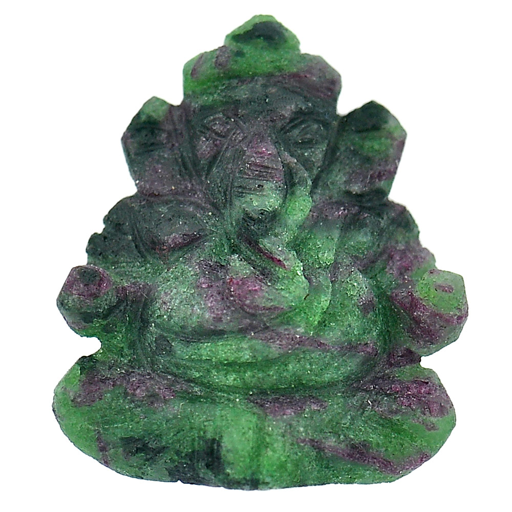 Unheated 32.91 Ct. Natural Gemstone Red Green Ruby in Zoisite Ganesha Carving