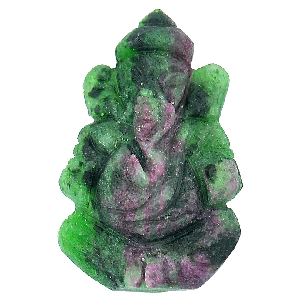 37.23 Ct. Natural Red Green Ruby in Zoisite Ganesha Beautiful Gemstone Carving