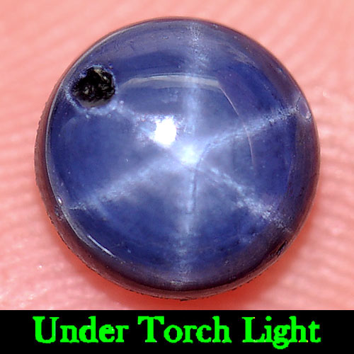 1.56 Ct. Round Cabochon Natural Blue Star Sapphire 6 Rays Gem Madagascar