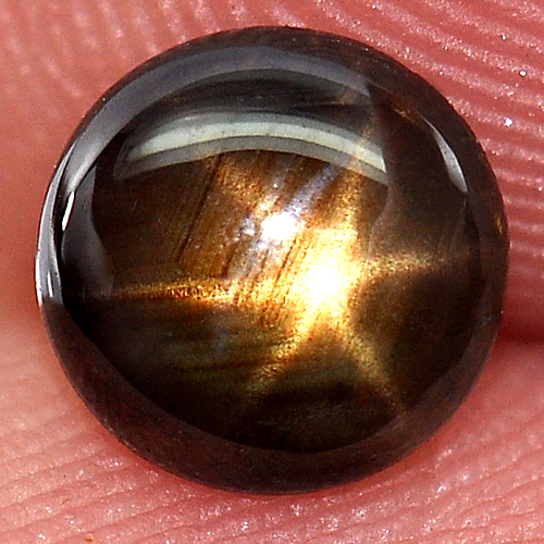 1.04 Ct 6.2 Mm. Natural Black Star Sapphire 6 Rays Gem