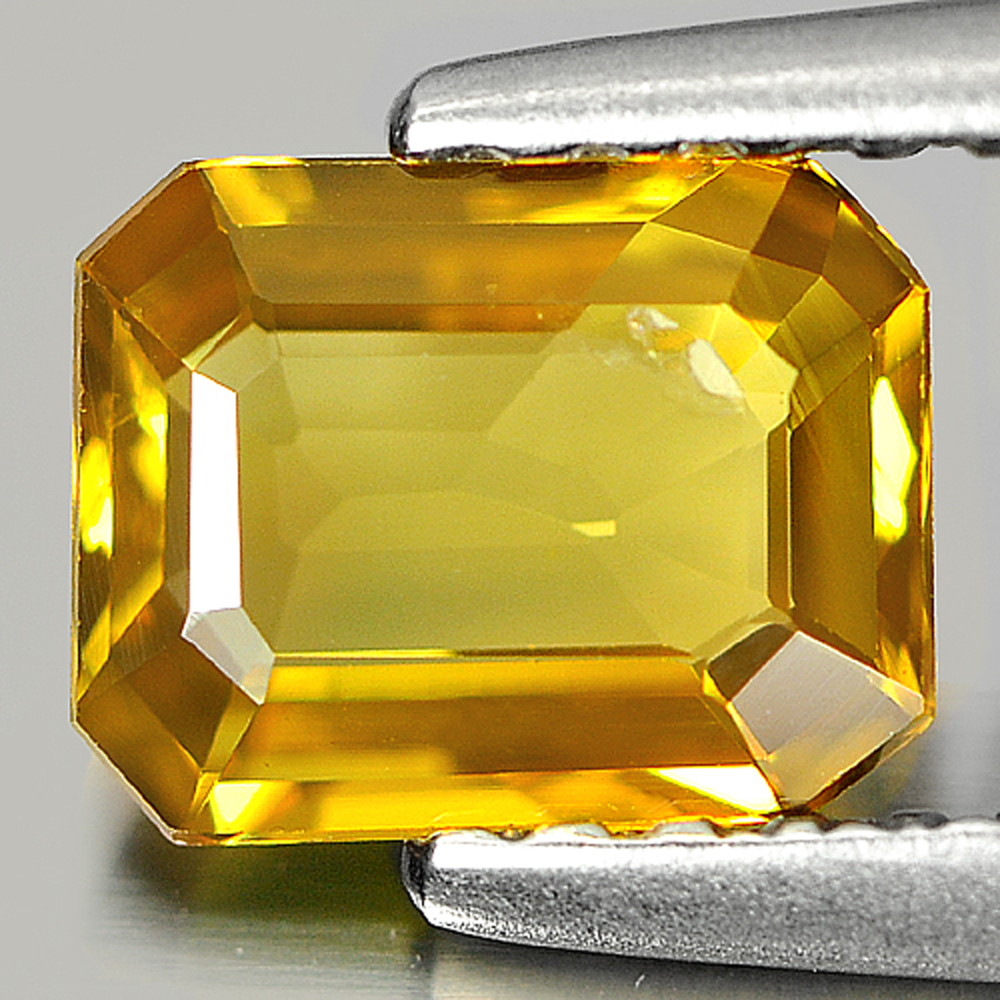 0.87 Ct. Octagon Shape Natural Gem Greenish Yellow Sapphire From Thailand