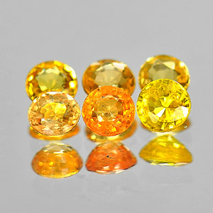 1.32 Ct. 6 Pcs. Round Shape Natural Orangish Yellow Songea Sapphire Gemstones