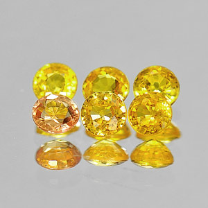1.28 Ct. 6 Pcs. Round Shape Natural Orangish Yellow Songea Sapphire Gemstones