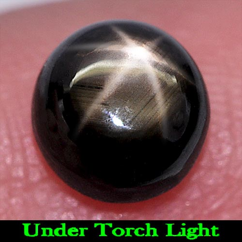 1.78 Ct. Alluring Round Cabochon Natural Gem Black Star Sapphire 6 Rays