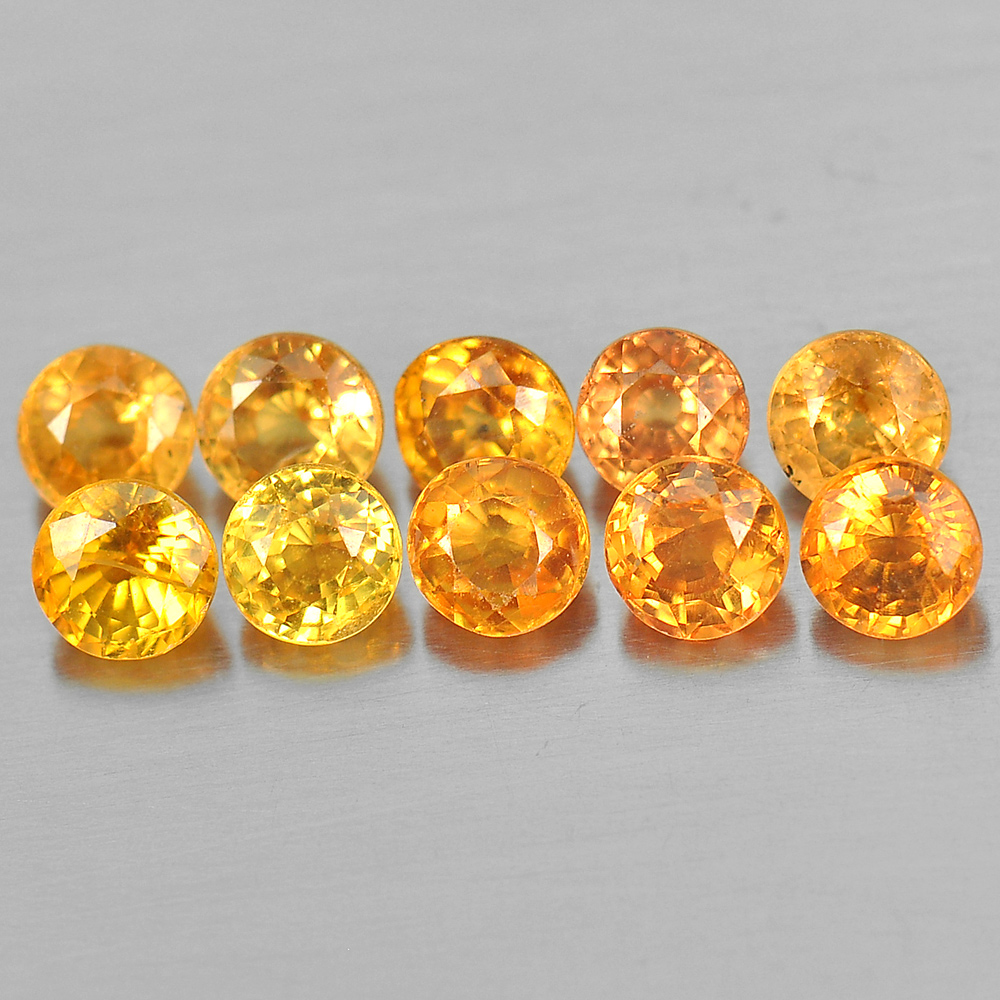 3.12 Ct. 10 Pcs. Natural Orange Yellow Songea Sapphire Round Shape 3.5 Mm.