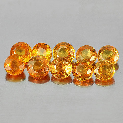 2.52 Ct. 10 Pcs. Round Shape Natural Orange Yellow Songea Sapphire Tanzania