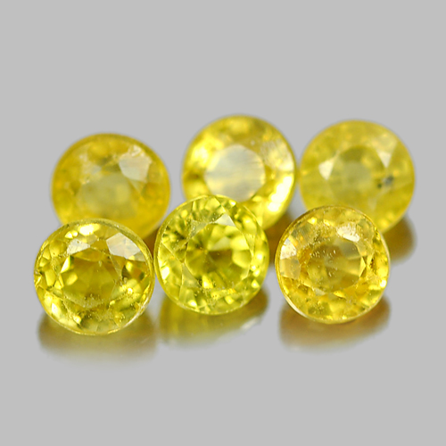 1.17 Ct. 6 Pcs. Round Shape Natural Gems Yellow Songea Sapphire From Tanzania