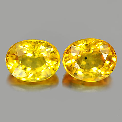 1.07 Ct. 2 Pcs. Oval Shape Natural Gemstone Yellow Songea Sapphire From Tanzania