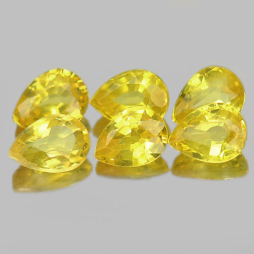 1.16 Ct. 6 Pcs. Natural Gemstones Yellow Songea Sapphire Pear Shape 4 x 3 Mm.