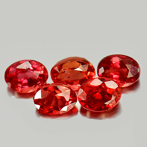 1.35 Ct. 5 Pcs. Oval Natural Gems Red Songea Sapphire Tanzania
