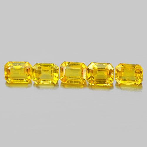 1.03 Ct. 5 Pcs. Octagon Shape Natural Gemstones Ceylon Yellow Sapphire