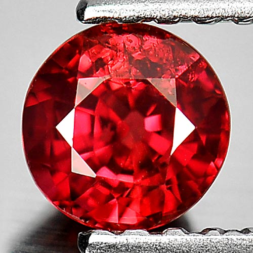 0.59 Ct. Round Shape 4.7 Mm. Natural Gemstone Red Songea Sapphire From Tanzania