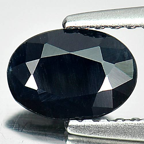 0.74 Ct. Oval Shape Natural Gem Black Sapphire Size 7 x 5 Mm.