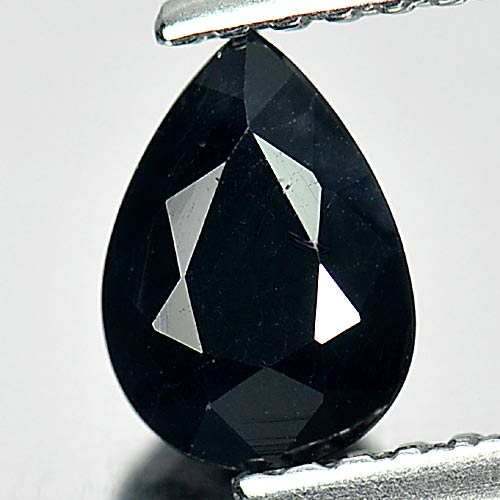 Calibrate Size 0.88 Ct. Pear Natural Gem Black Sapphire From Australia