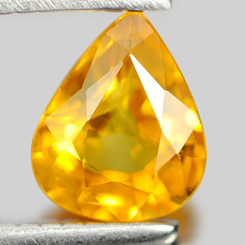 0.63 Ct. Good Color Pear Natural Gem Yellow Sapphire From Thailand