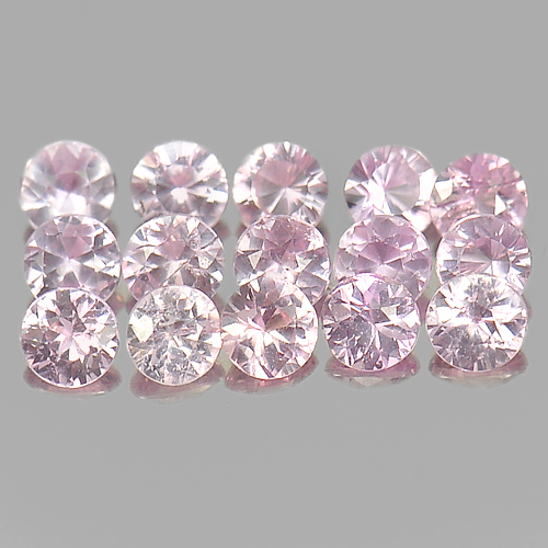Delightful 1.29 Ct. 15 Pcs. Round Diamond Cut Natural Pink Sapphire Madagascar