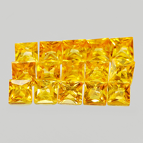 1.07 Ct. 15 Pcs. Natural Orangish Yellow Songea Sapphire Square Princess Cut