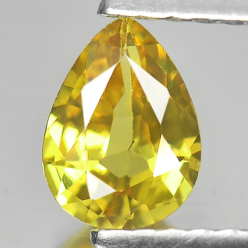 0.58 Ct. Nice Color Pear Shape Natural Yellow Sapphire Gemstone Thailand