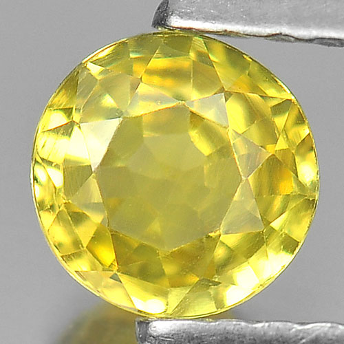 0.55 Ct. Nice Color Round Shape Natural Yellow Sapphire Gemstone Thailand