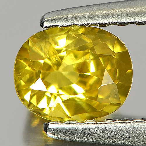 0.58 Ct. Nice Color Oval Shape Natural Yellow Sapphire Gemstone Thailand