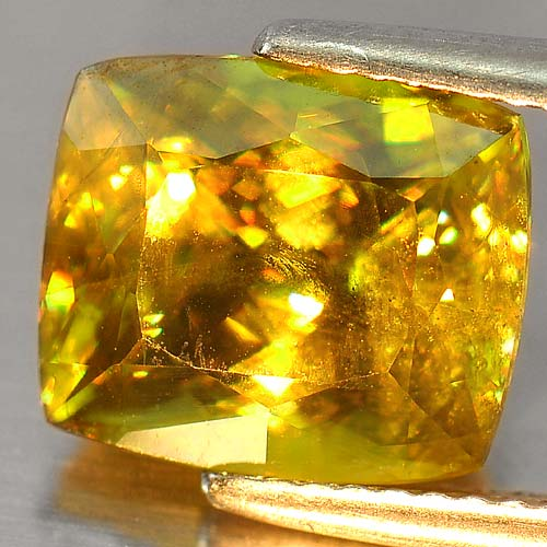 Natural Gem 5.16 Ct. Cushion Natural Intense Green Sphene With Rainbow Spark