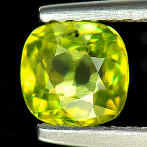 Unheated 0.84 Ct. Natural Intense Green Titanium Sphene Red Spark