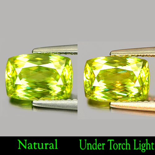 Nice Color 2.19 Ct. Natural Green Titanium Sphene With Rainbow Spark