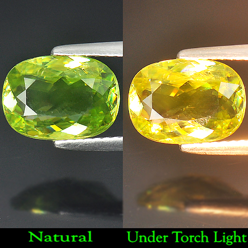 Unheated 2.87 Ct.Natural Gem Yellowish Green Titanium Sphene With Rainbow Spark