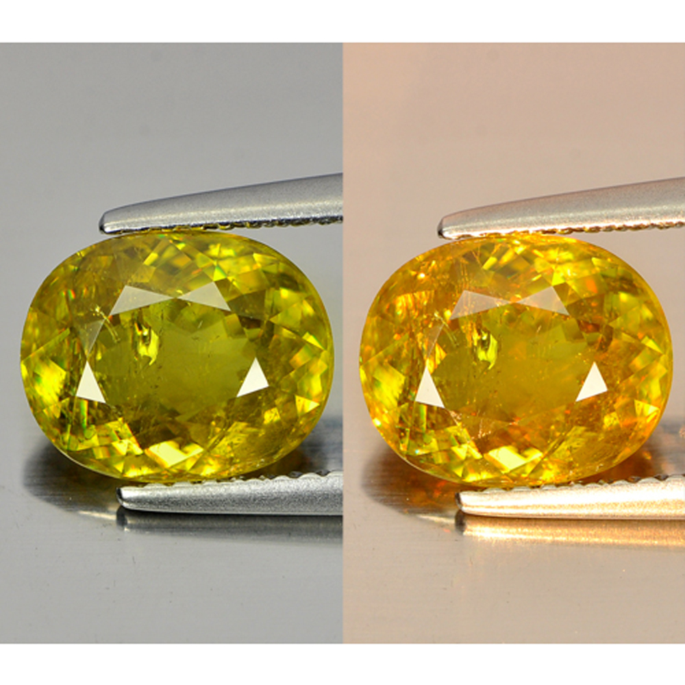 2.87 Ct. Oval Shape Natural Gem Multi Color Titanium Sphene With Rainbow Spark