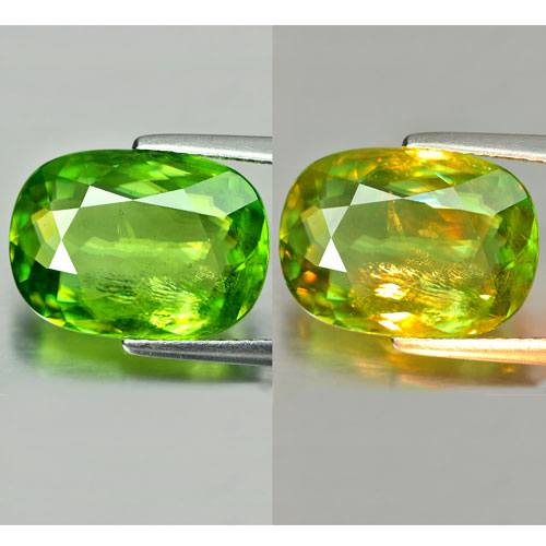 6.80 Ct. Natural Oval Shape Green Titanium Sphene Red Spark Unheated