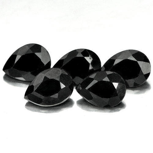 4.22 Ct. 5 Pcs. Pear Shape Natural Gemstone Black Color Spinel Unheated