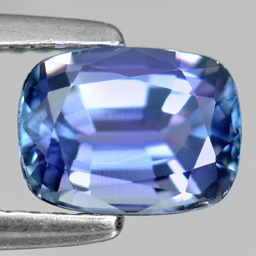 1.44 Ct. Cushion Shape 7.55 x 5.62 Mm. Natural Gemstone Violetish Blue Tanzanite