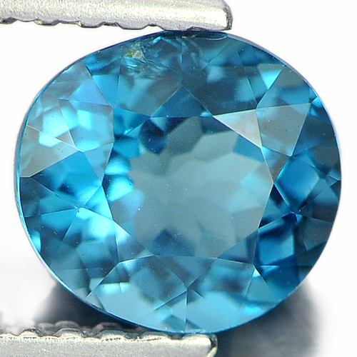1.28 Ct. Oval Shape 6.6 x 6.2 Mm. Natural Gemstone London Blue Topaz From Brazil