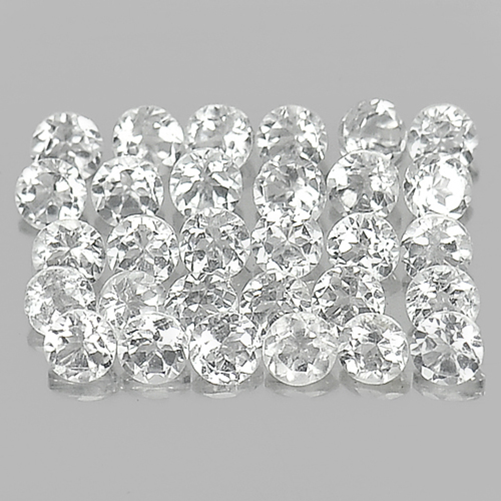 1.79 Ct. 30 Pcs. Round Shape Natural White Topaz Gemstone Unheated From Brazil